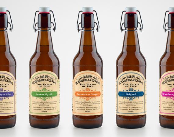 Kombucha Drink Range Label Design